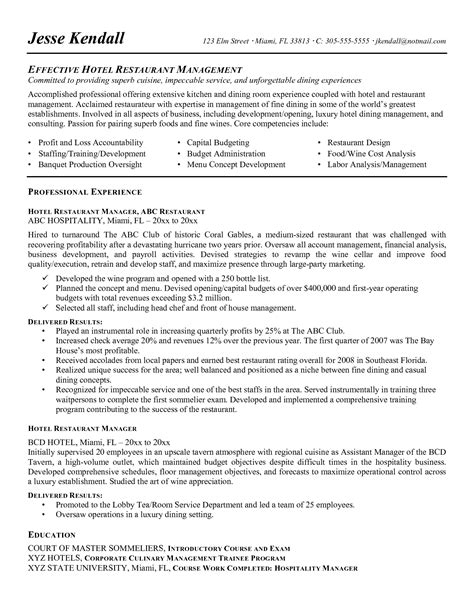 Restaurant Manager Resume Objective Statement by Restaurant Manager Resume Objective Resume Ideas