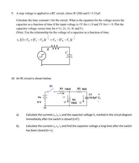 capacitor step function a step voltage is applied to a rc circuit where r chegg