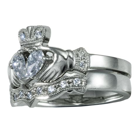 14k white gold claddagh engagement ring wedding