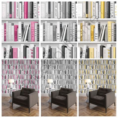 wall decor for library fashion library bookcase wallpaper pink gold silver