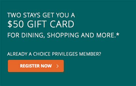 Choice Hotel Gift Card - choice hotels 50 gift card promotion points miles martinis