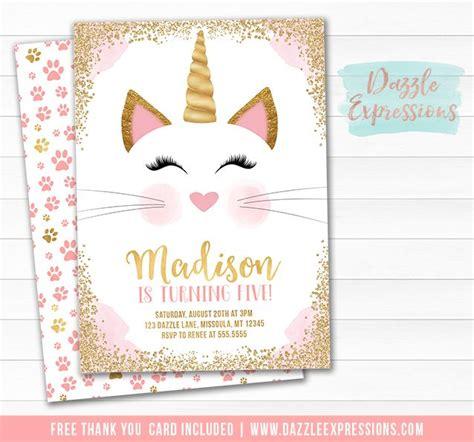 printable cat card template printable caticorn birthday invitation kittycorn