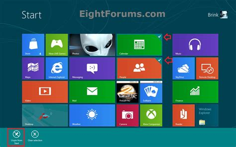 start screen pin or unpin app folder or drive in windows 8