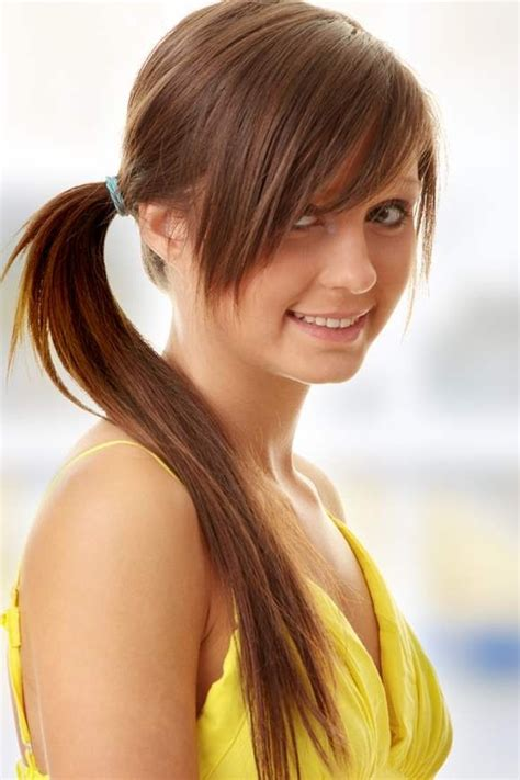 hair in pony tail with bangs best long weave ponytail hair styles for girls