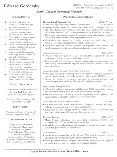 free sle resume for supply chain management customer service supply chain resume