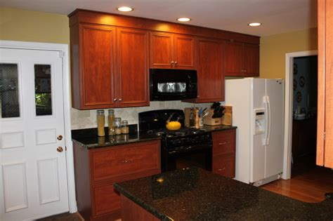 Kitchen Cabinets Fairfax Va Cherry Laminate Transitional Kitchen With Black Granite In Fairfax Va Transitional