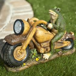 solar light frog on motorcycle statue at hayneedle
