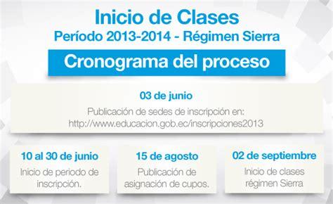 cronograma del proceso de solicitud de cupos 2016 2017 i inicio de clases r 233 gimen sierra ministerio de educaci 243 n