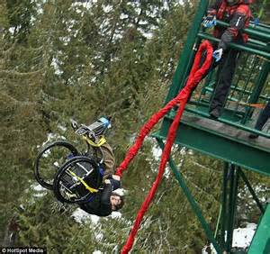 Bungee Jumping Chair - wheelchair parachutist rolling 876 foot bridge daily
