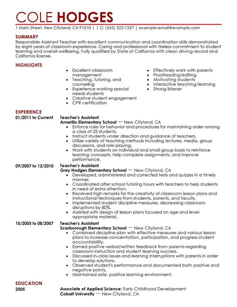 Sample Resume Objectives For New Teachers by Best Assistant Teacher Resume Example Livecareer