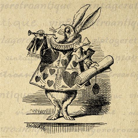 herald white rabbit alice in wonderland no 046 by