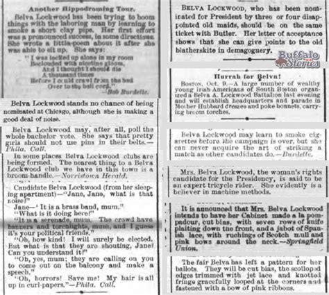 Press Coverage Lockwoods Belva Lockwood Buffalo Stories Archives