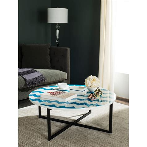 safavieh cheyenne blue white coffee table trb1001a the