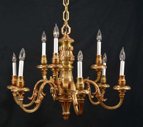 Lights And Chandeliers Nine Light Simple Georgian Cast Brass Chandelier At 1stdibs