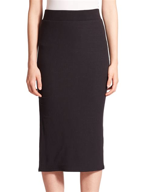 atm ribbed midi pencil skirt in black lyst