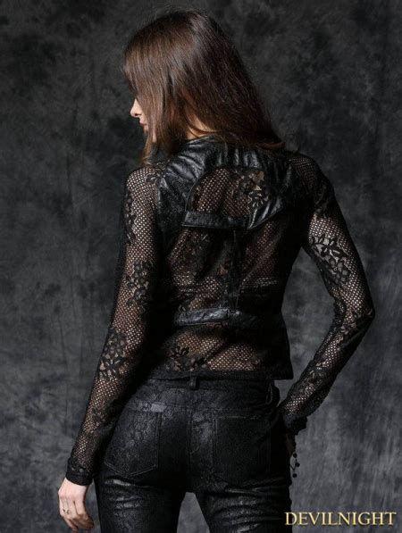 black gothic rose leather jacket top  sexy flower lace