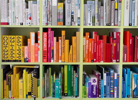 colored bookshelves arranging your books by color is not a moral failure