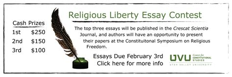 Religious Freedom Essay Contest by The Center For Constitutional Studies Center For Constitutional Studies Home