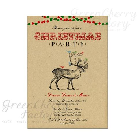 rustic vintage christmas party invitation reindeer