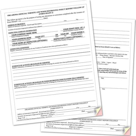 wood destroying insect certification odaff 2 oklahoma wdi followup report forms