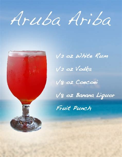 aruba ariba mixed drink recipe dining cocktails recipes pint