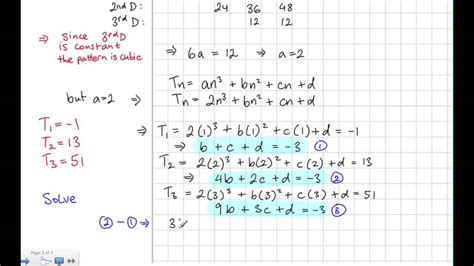 pattern rule equation linear quadratic and cubic patterns youtube