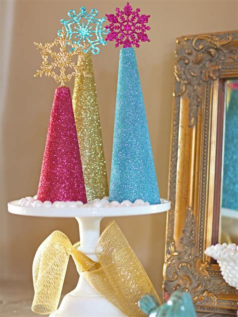 glitter christmas tree decorations  tos diy