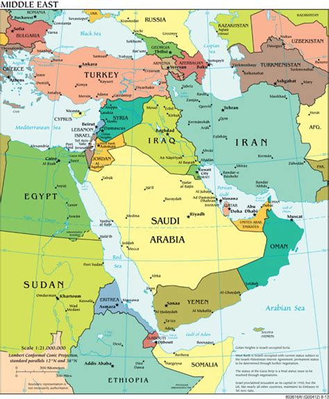 middle east map for students the world factbook