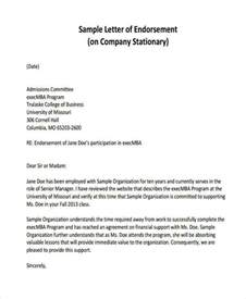 Endorsement Letter As Company Representative Endorsement Letter 16 Sle Endorsement Letters Sle Employment 43 Exles In Word Pdf
