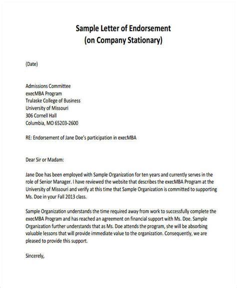 Business Endorsement Letter Template sle endorsement letter 8 simple endorsement letter