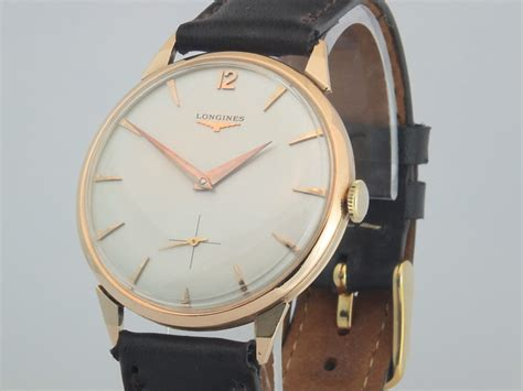 longines 18k pink gold oversize 1956 vintage gold watches