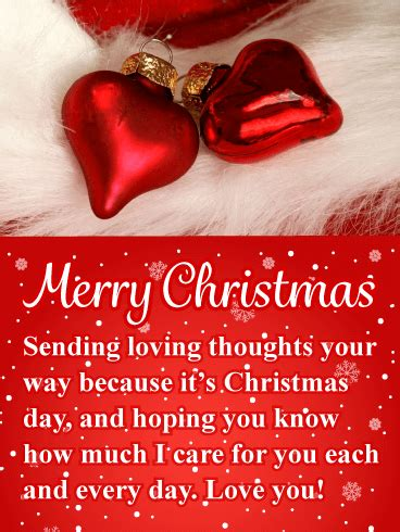 red heart ornaments romantic merry christmas card birthday greeting cards  davia