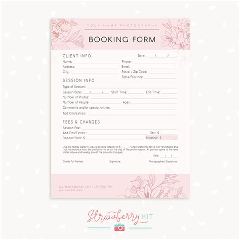 Photography Booking Form Template Free Floral Client Booking Form Template For Photographers Strawberry Kit