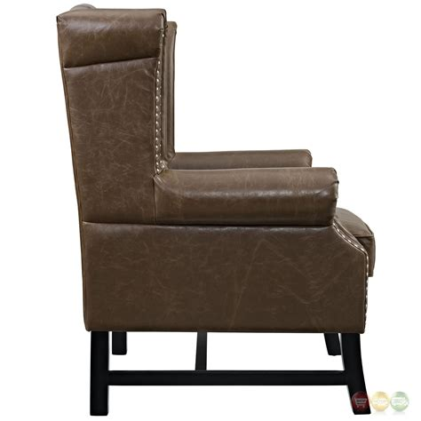 vinyl armchair steer traditional button tufted vinyl armchair w nail head