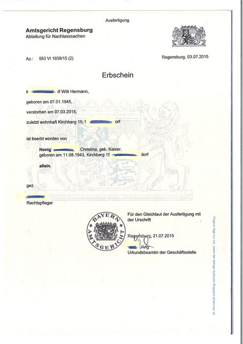 Gift Inheritance Letter german grant of probate cross channel lawyers