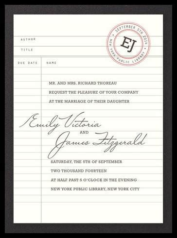 library wedding invitations bookish wedding invitations for your literary lovefest