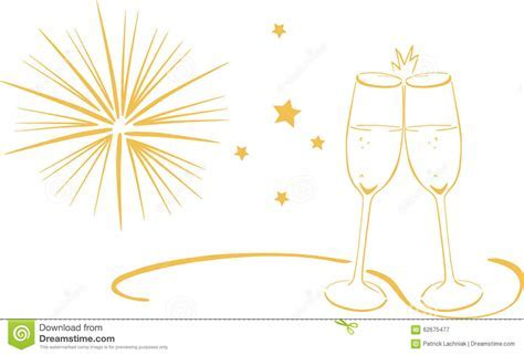 Sparkling Wine Glasses   New Years Eve Stock Illustration