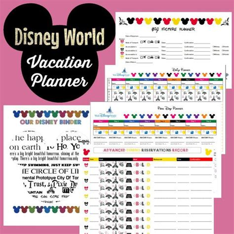 printable disney world planner 7 best images of printables disney world disney world