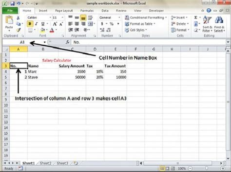 tutorialspoint exles rows and columns in excel 2010