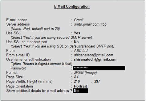 gmail server name and how to send email from tally erp9 email configuration