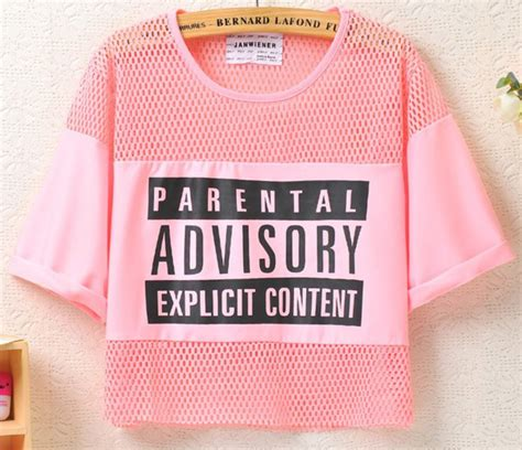 Blouse Crop Advisory top pink crop parental advisory content wheretoget