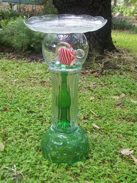 clear and green glass bird bath feeder purrd s diy