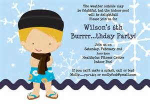 indoor pool invitations for boys printable or printed