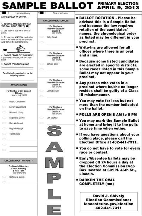 Nebraska Sle Ballots Grassroots In Nebraska Election Ballot Template