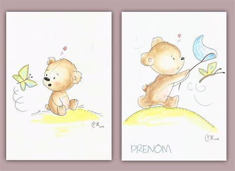 dessin chambre d enfant dessins aquarelles ourson en peluche et papillon sur