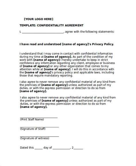 partnership agreement ontario template sle personal confidentiality agreement 7 documents