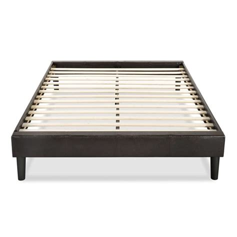 King Bed Frame Slats King Size Contemporary Faux Leather Upholstered Platform Bed Frame With Wood Slats