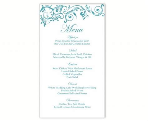 wedding menu sles templates wedding menu template diy menu card template editable text
