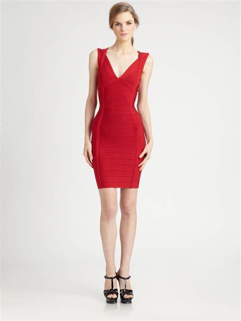Herve Dress lyst herv 233 l 233 ger vneck bandage dress in