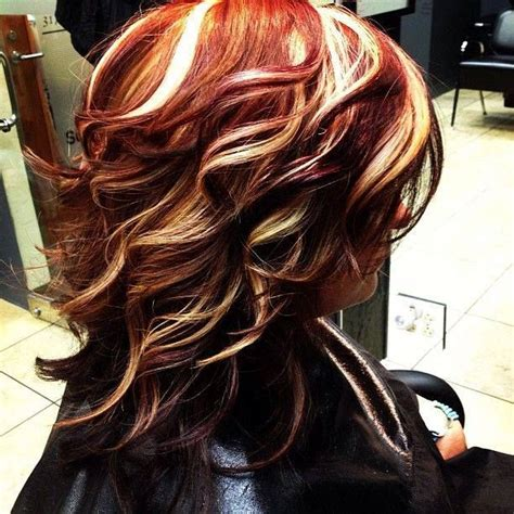 hairstyles with brown blonde and red streaks red blond streaks hairstyle pinterest